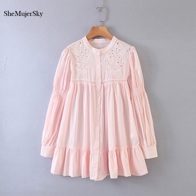 SheMujerSky White Embroidery Hollow Out Blouse Autumn O-neck Long Sleeve Tops 2020 Spliced Buttons Long Shirts blusas 3