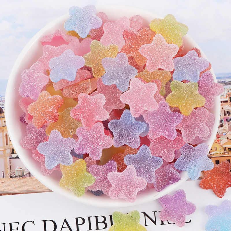 12 枚の樹脂シミュレーションキャンディチャーム DIY クリアハートラウンドスターアクセサリーためスライム充填装飾宝石の魅力