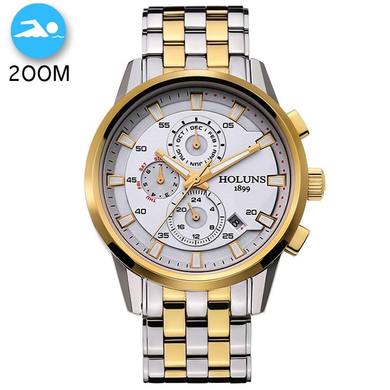 200m impermeable automático mecánico superior de marca de lujo reloj de acero completo hombres de negocios Casual relojes de pulsera militar reloj de pulsera-in Relojes mecánicos from Relojes de pulsera    1