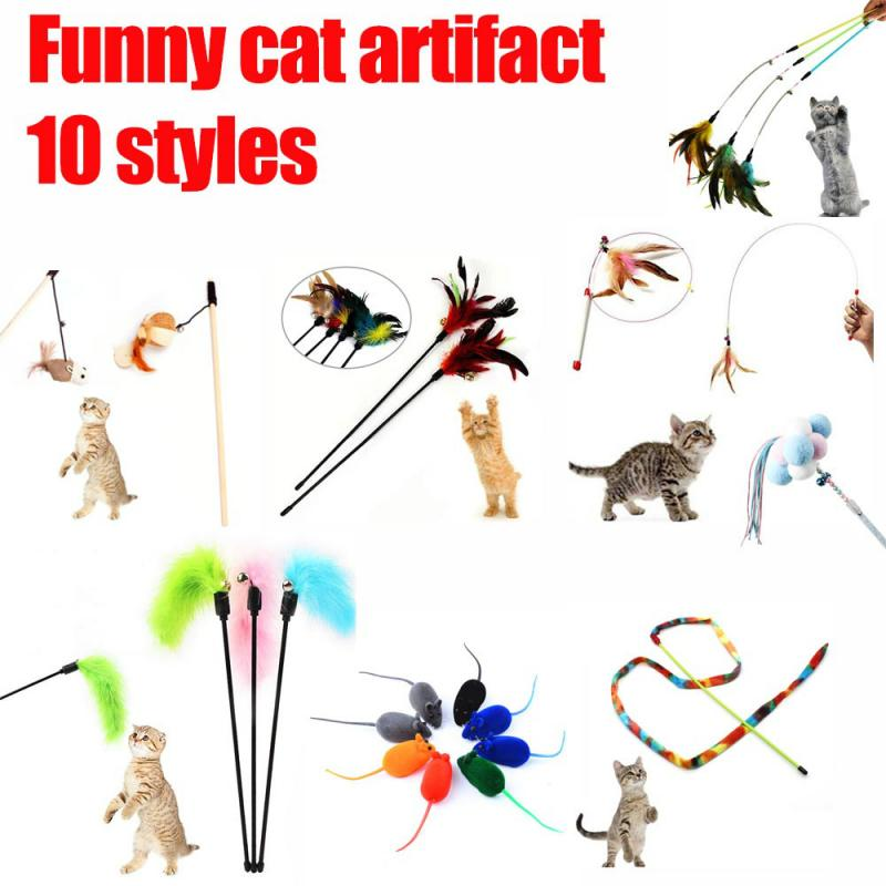 10 Style Cat Toys Kitten Interactive Stick Funny Cat Game Chaser Wand Pet Teaser Turkey Feather Stick Toy Pet Supplies Accessory