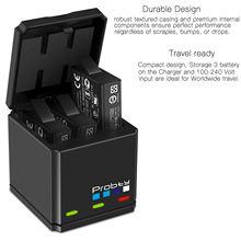 Probty estojo de carregamento de bateria multifuncional, 3 espaços, caixa de carregamento 2 em 1 para gopro hero 8 7 6 5 preto
