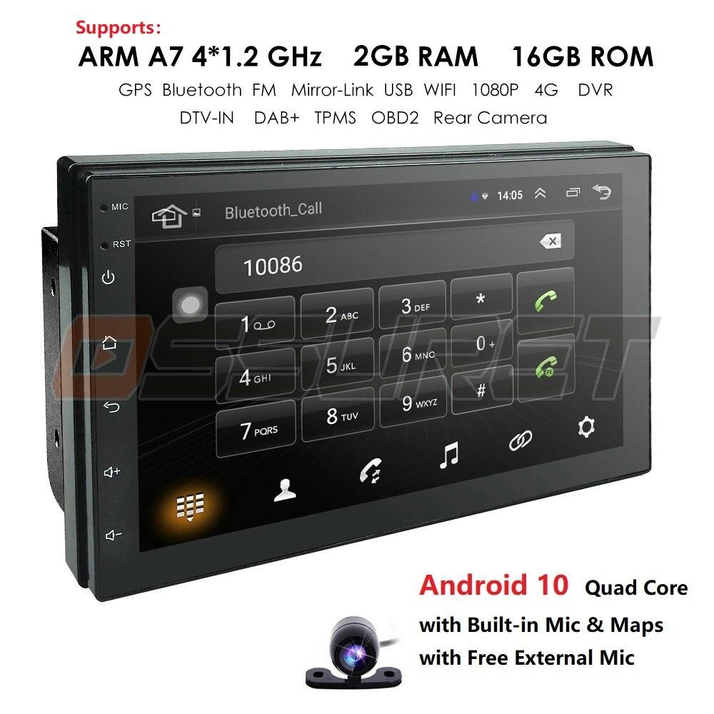 2din автомобильный Радио Android мультимедийный плеер авторадио 2 Din 7 ''сенсорный экран GPS Bluetooth FM WIFI Авто Аудио плеер стерео OBD микрофон