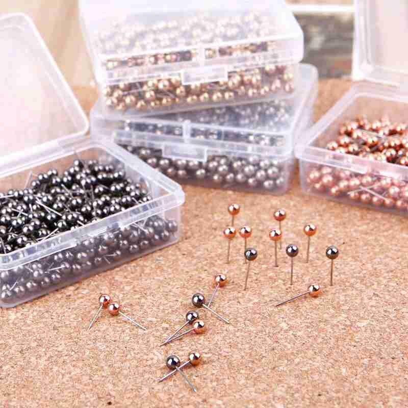 100pcs / Box Metal Plastic Ball Pushpin Map Thumb Pushpin Pin Student School Study Office Supplies Stationery