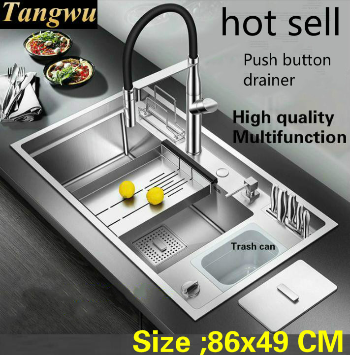Free Shipping Hot Sell Apartment Push Button Drainer Luxury Kitchen Manual Sink Single Trough Big Stainless Steel 860x490 MM