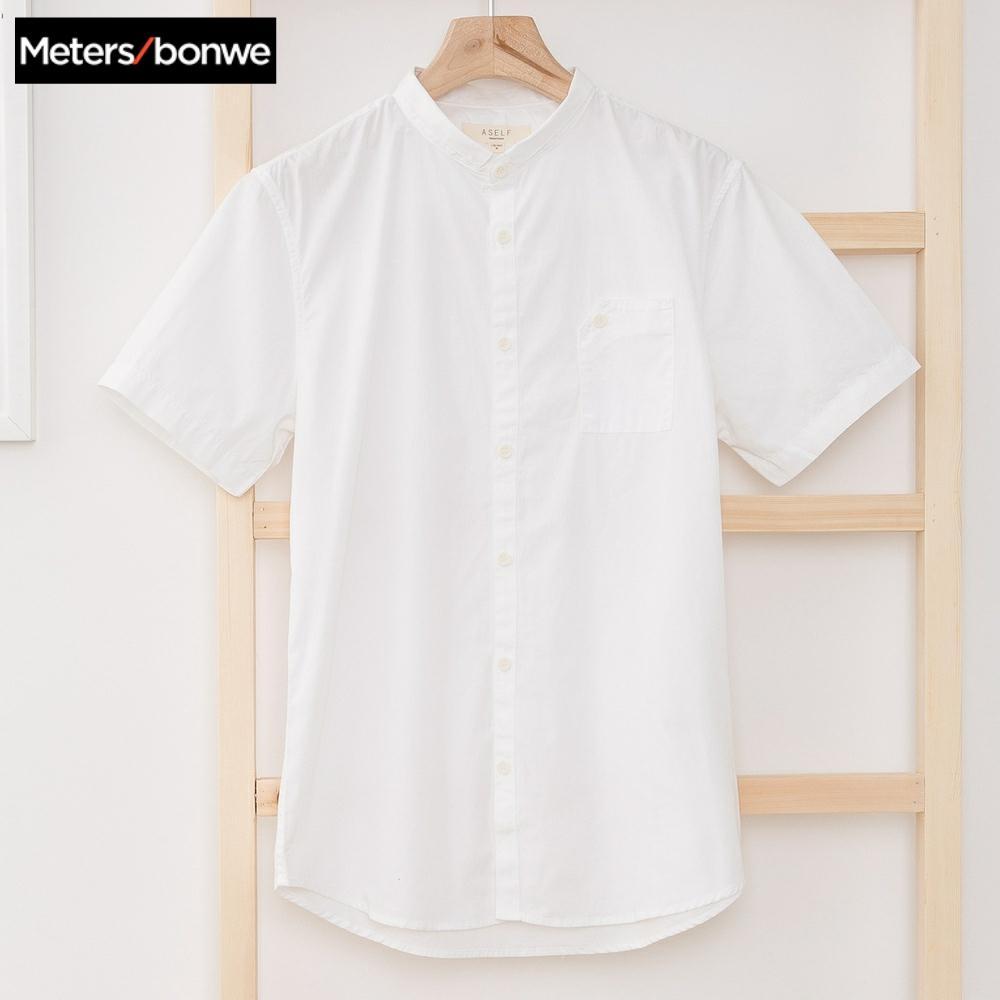 METERSBONWE New Men Summer Short Sleeve Shirt Stand Collar Shirt рубашка мужская