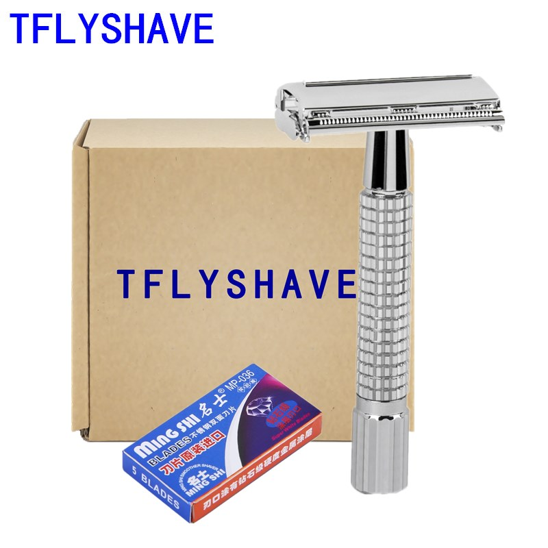 TFLYSHAVE Men Double Shaver Classic Safety Razor With 5 Blades As Gift Silver Plated Epilator Weishi Straight Razor Hair Removal