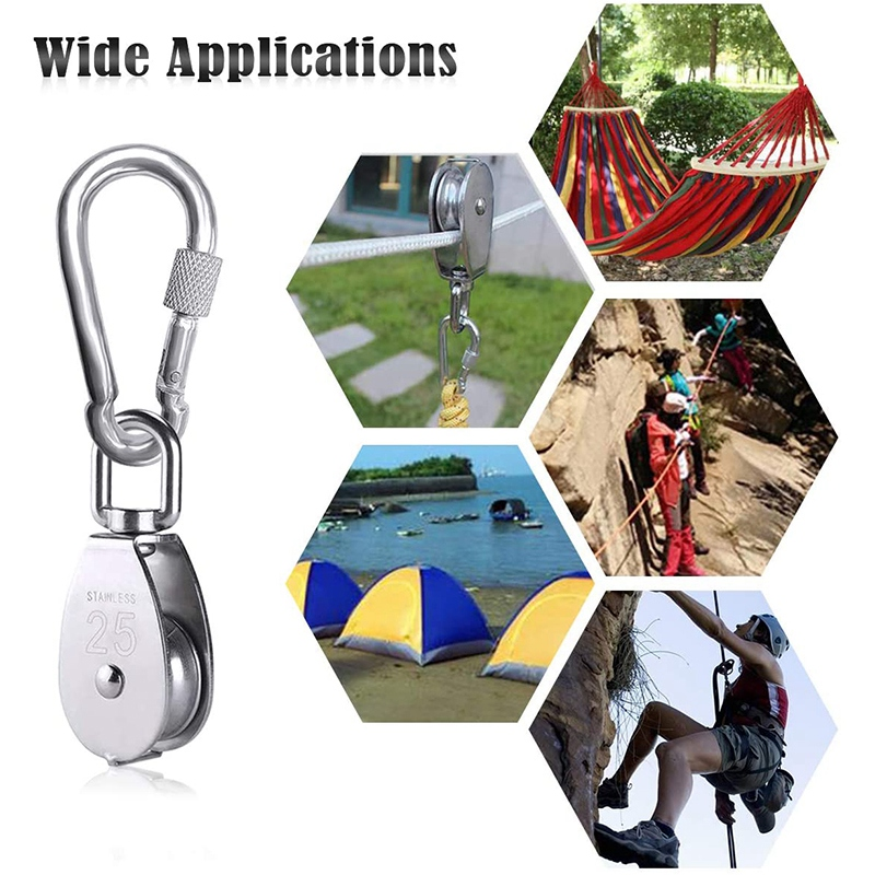 2Pcs M25 Single Pulley Block Heavy Duty 304 Stainless Steel Pulley Roller With 3Pcs Spring Snap Hook Carabiner