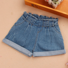 Летние Шорты для девочек 2020 детские джинсовые штаны с эластичной