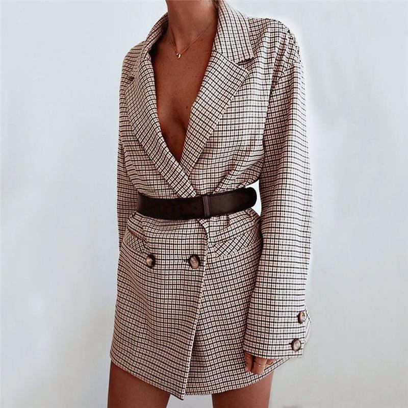 2019 Autumn New Fashion Women Ladies Suit Coat England Style Blazer Long Sleeve Plaid Outwears Office Lady's Long Blazers