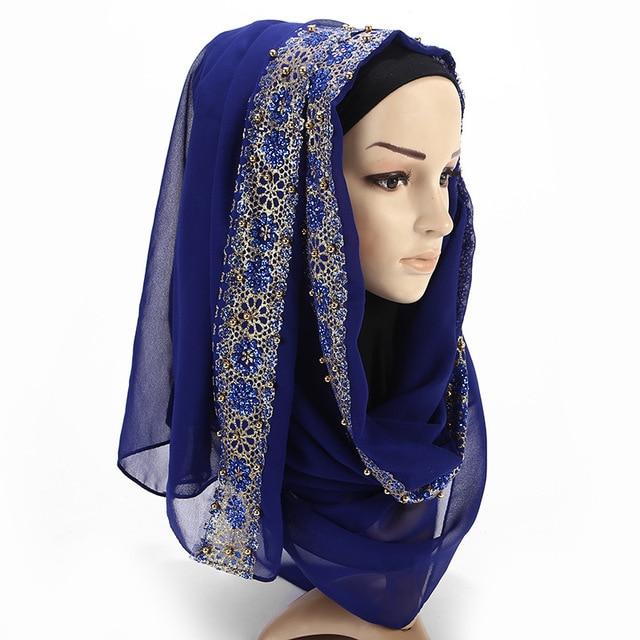 2020 New Summer Islamic Muslim Rhinestone Lace Flower Scarf Shawl Hijab Women Solid Color Bubble Chiffon Turban Headband Scarves