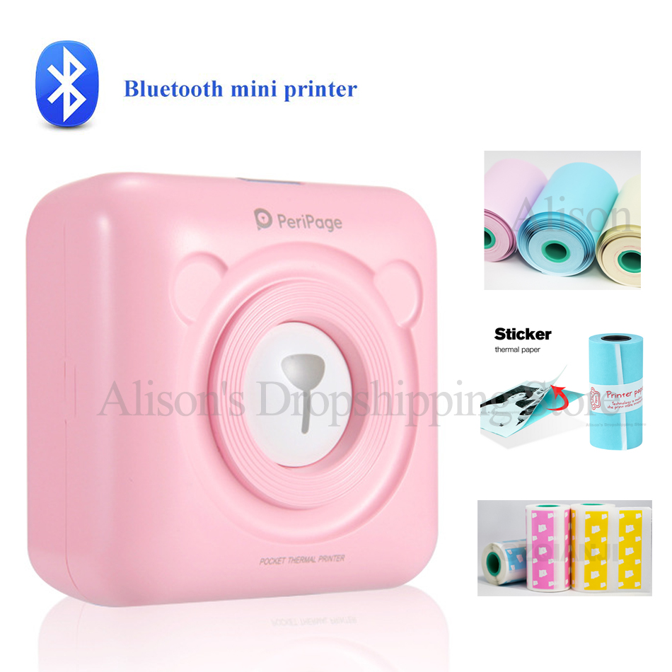58mm A6 PeriPage Mini Portable Bluetooth Wireless Photo Printer Pocket Paper Thermal Printing USB Connection Impresoras Fotos