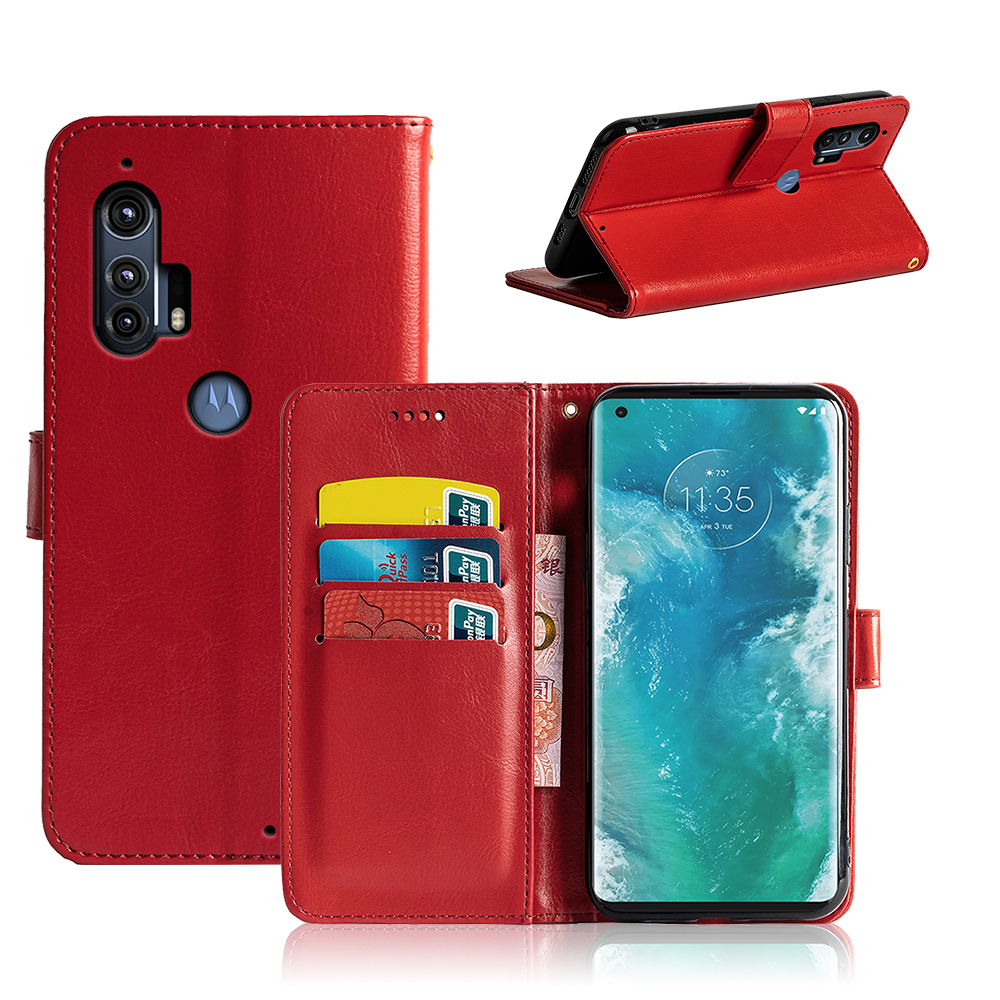 For Motorola Edge Plus Phone Case Compact Cover Case Plain Leather Walletseasy To Carry And Shockproof Dirt-Resistant