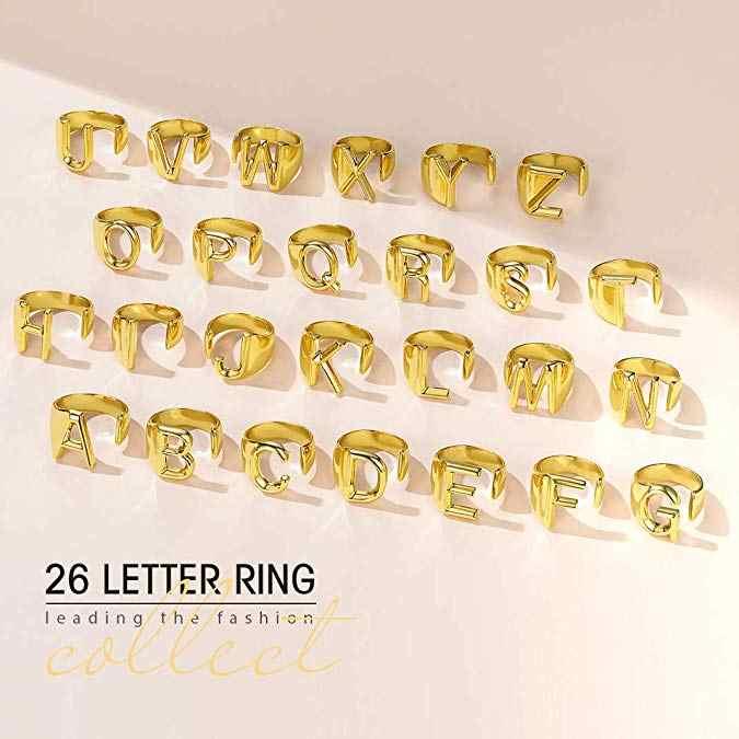 A-Z minimalista Feminino Carta de Metal Charme Anel de Prata de Noivado De Ouro Cheias Anel de Abertura Da Moda Anéis de Casamento Para As Mulheres