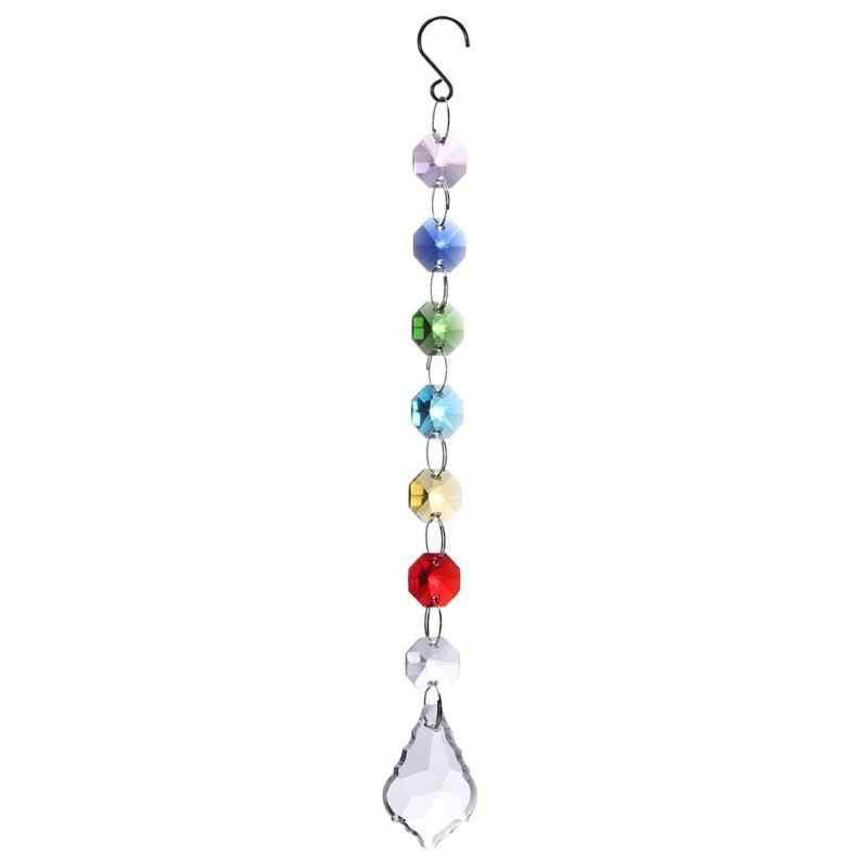DIY sztuczny kryształ powiesić światło ciąg ośmiokątne koraliki kryształ Suncatcher klon wisiorek z listkiem kreatywne rękodzieło prezenty