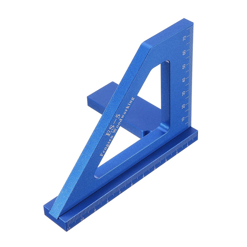 ES-5 Multifunction Woodworking Scriber Ruler 3D Miter Angle Ruler Marking T Ruler Square Layout 45/90Degree Measuring Aluminum