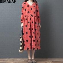 DIMANAF Plus Size Autumn Women Dress Long Sleeve Vintage Elegant Big Loose Female Vestidos Print Dot Clothing 2019