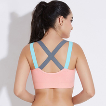 DERUILADY Sexy Cross Backless Bras For Women Comfort Breathable Top Gym Running Jogging Workout Fitness Bra Wireless Bralette