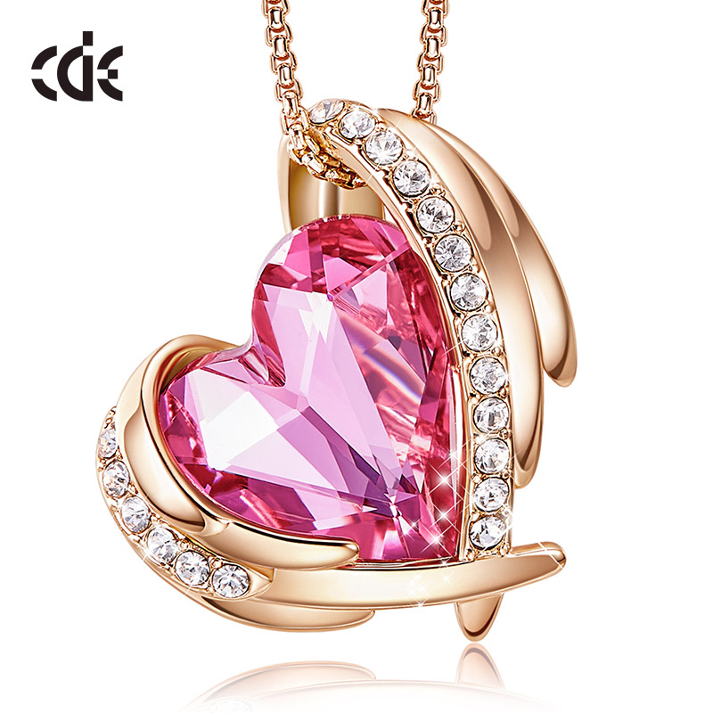 CDE Women Gold Necklace Pendant Embellished With Crystals From Swarovski Heart Necklace Angel Wing Rose Gold Jewelry Mom Gift
