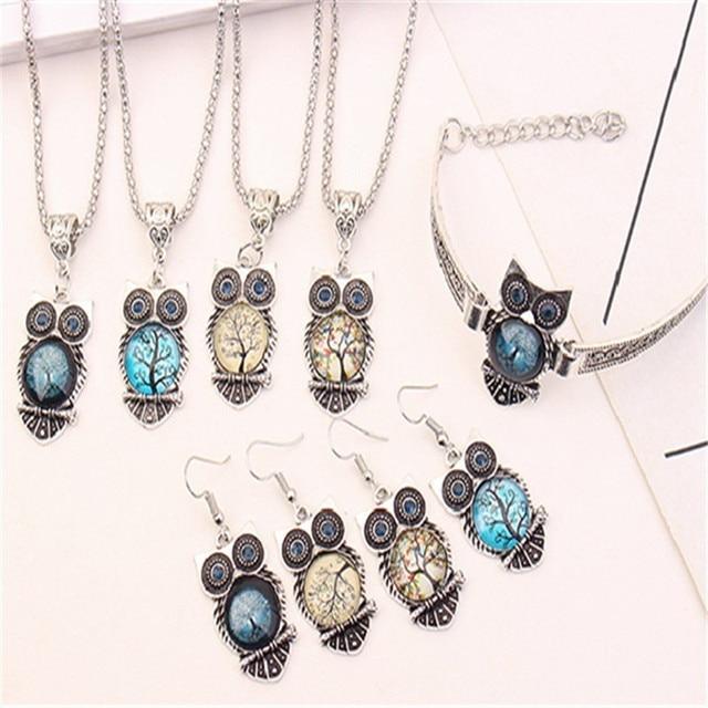 Boho Female Crystal Jewelry Set Charm Silver Color Dangle Earring For Women Vintage Owl Bracelet Wedding Chain Necklace 6