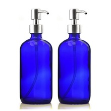 2 X 500ml Liquid Soap Dispenser 16 Oz Empty Cobalt Blue Glass Bottle w/ Stainless Steel Pump for Hand Sanitizer Homemade Lotions