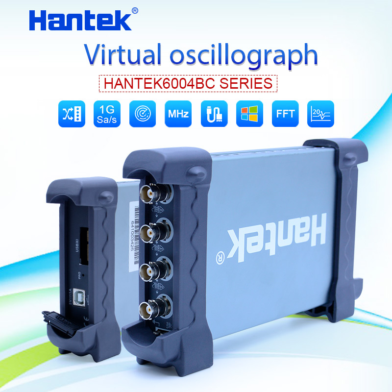 Hantek Digital Oscilloscope 6074BC/6104BC/6204BC/6254BC 1GSa/s 4 Channels 70-250MHz USB Oscilloscopes
