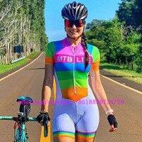 Trisuit 2019 자전거 트라이 애슬론 정장 여성용 사이클링 skinsuit 여성용 점프 슈트 ropa ciclismo 반소매 바디웨어 세트 tri speedsuit