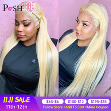 Full Lace Human Hair Wigs 613 Blonde Remy 8   28 inch Long Brazilian Straight Pre Plucked Glueless Full Lace Wig with Baby Hair