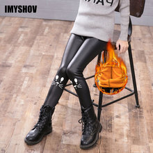 купить Faux Leather Kids Warm Winter Girls Leggings For Girls Thick Pants Toddler Christmas Trousers Children Legins Baby Girl Clothes дешево