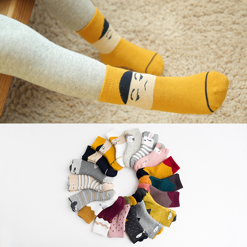 2018 Small Alpaca Autumn And Winter New Style Children Thick Looped Pile Tube Socks Cotton Cartoon Stereo Baby Socks