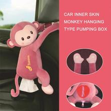 Car Tissue Box Plush Monkey Hanging Type Cute Creative Tissue Case Holder for Home Car