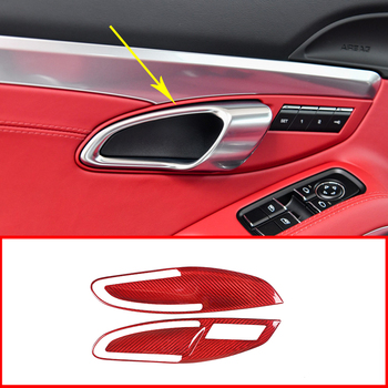 Car Accessories Carbon Fiber Red Car Interior Door Handle Protection Decorative Sticker Cover Trim For Porsche 911 718 2012-2018 image