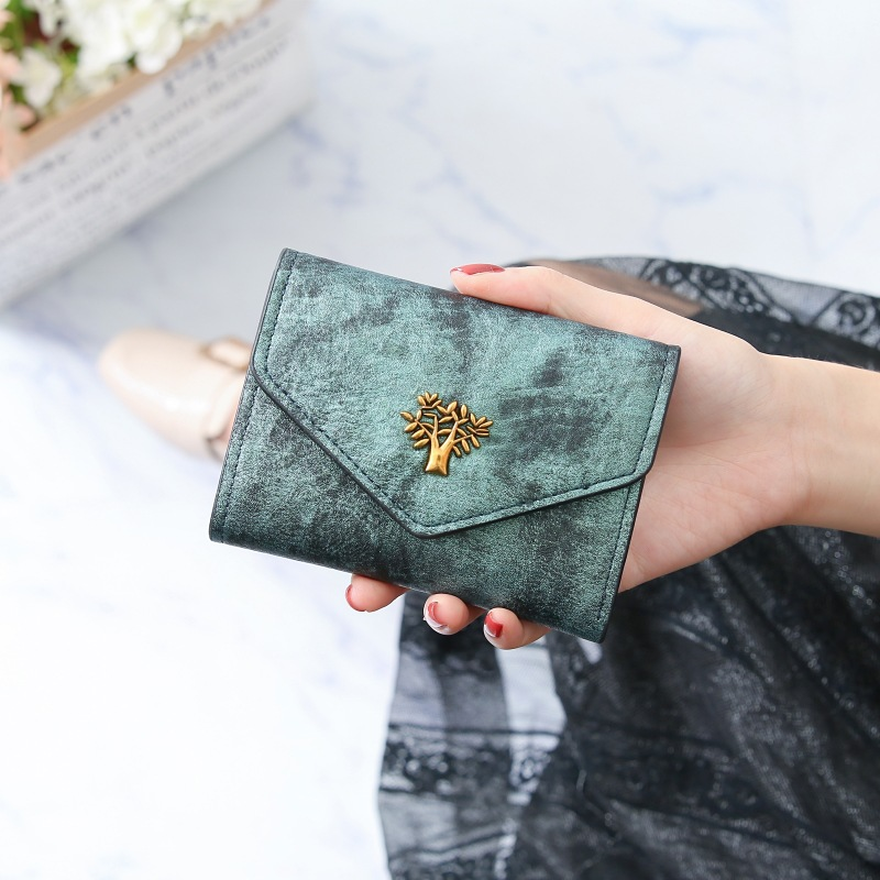 2020 New Women Wallet Retro Tree Design Leather Wallet Student Mini Womens Wallets And Purses Cute Girls Card Holder Wallet