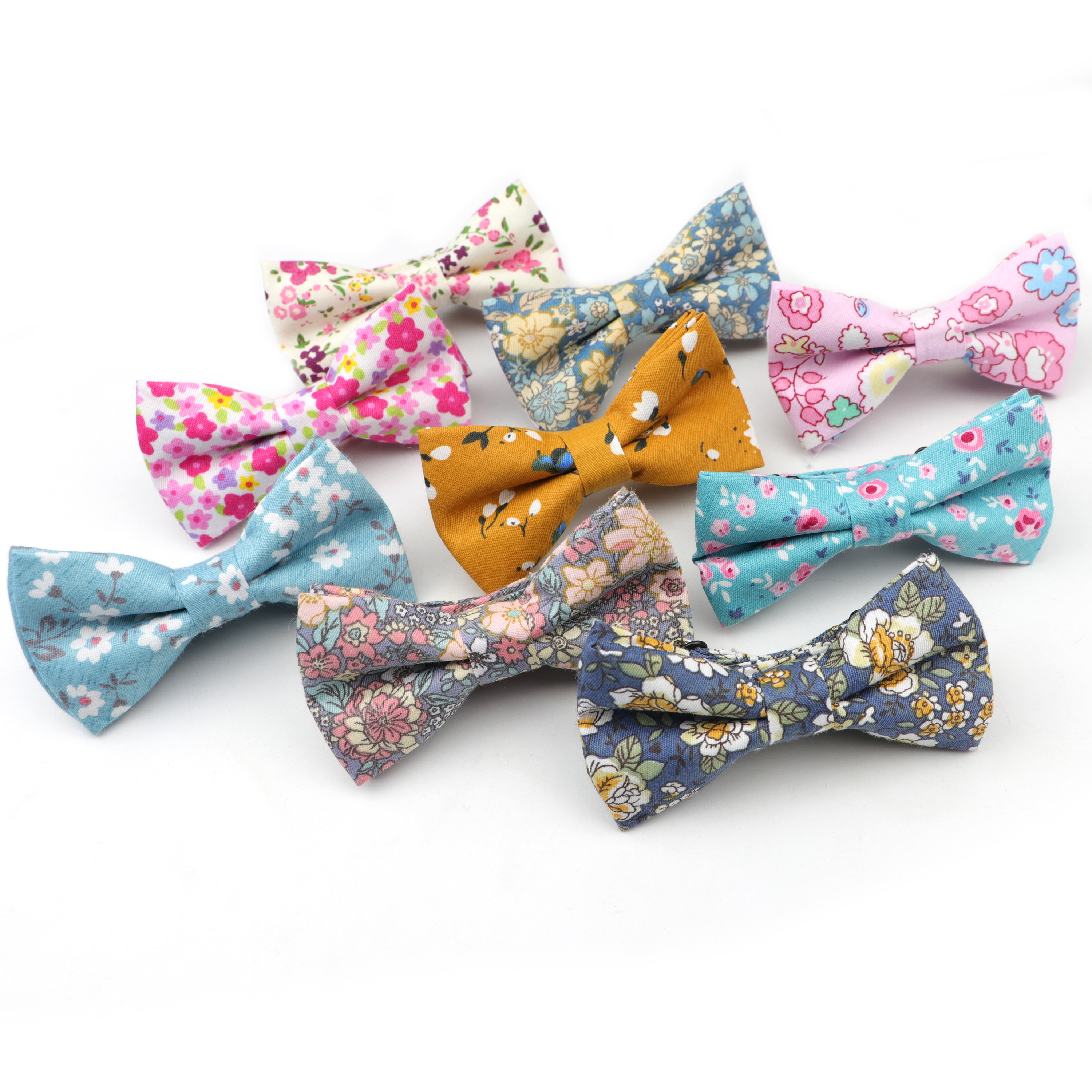 Fashion Floral Kids Bow Ties Cotton Print Adjustable Bowtie Neckties Wedding Party girl boy suits Colorful Butterfly Cravats