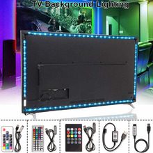 Fita led rgb 5050 usb, 5v, flexível, usb, tira de luz, led, neon, fita rgb, 17 teclas iluminação de fundo remoto da tv, 1m, 3m