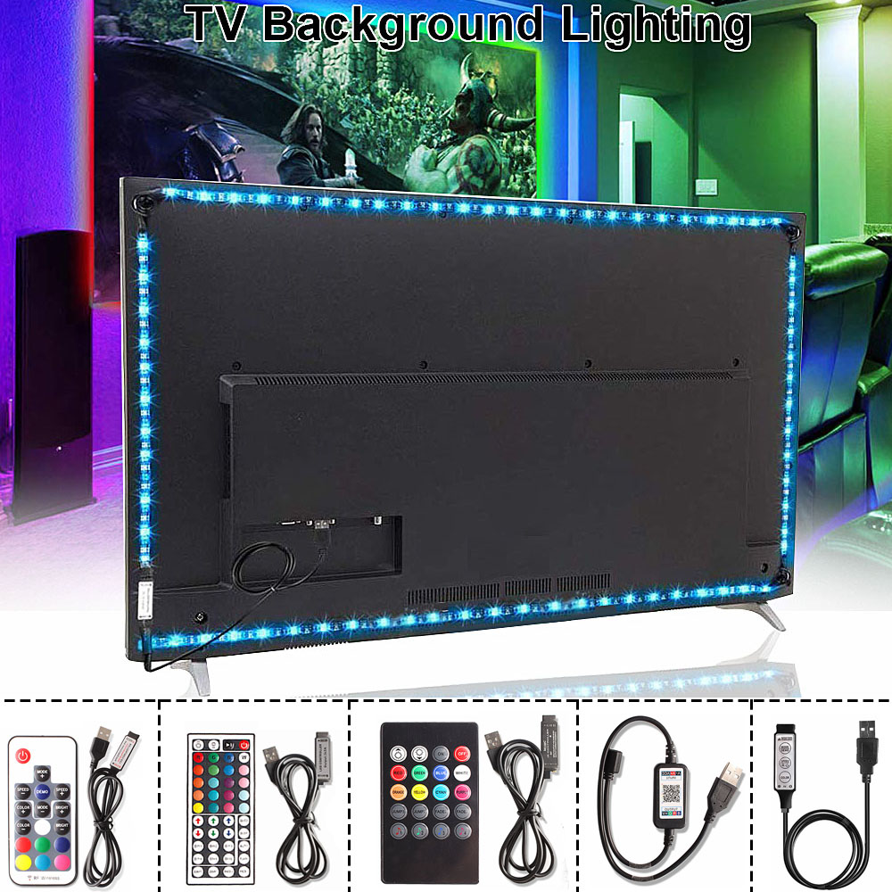RGB <font><b>5050</b></font> <font><b>USB</b></font> LED Strip 5V Ribbon Flexible Led Light Strip <font><b>USB</b></font> Tira LED Neon RGB Tape 17 Keys Remote TV Background Lighting 1M 3M image