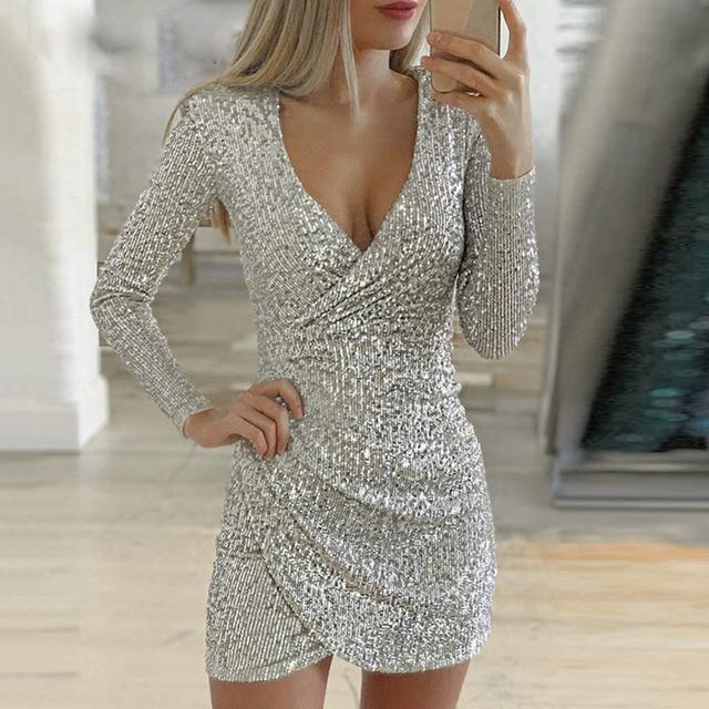 Puimentiua Women's V-neck Slim Sequin Dress Newest Sexy Silver Glitter Shiny Party Vestido Fashion Ladies Long Sleeve Mini Dress