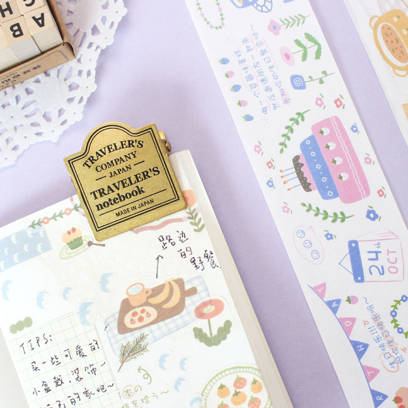 Mohamm Picnic Series Color Washi Masking Tape Release Paper Stickers Scrapbooking Stationery Decorative Tape