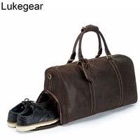 Lukegear Genuine Leather Bags for Travel 100% Handmade Sturdy Duffle Packs for Women Overnight Outside Bag