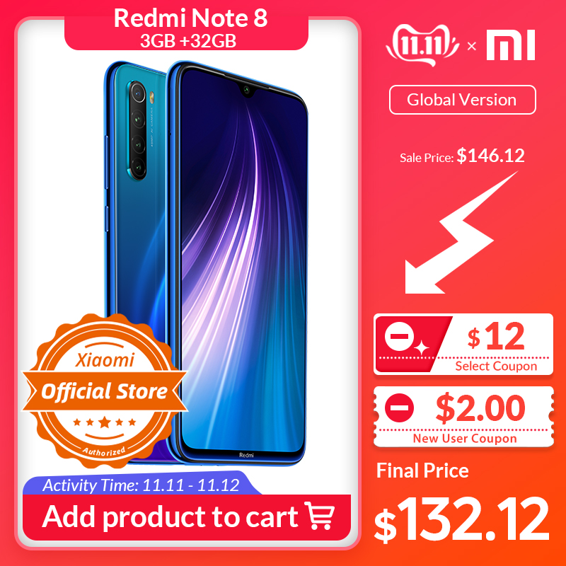 Global Version Xiaomi Redmi Note 8 Smartphone 3GB 32GB Snapdragon 665 Octa Core Mobile Phone 48MP Camera 4000mAh 18W Fast Charge