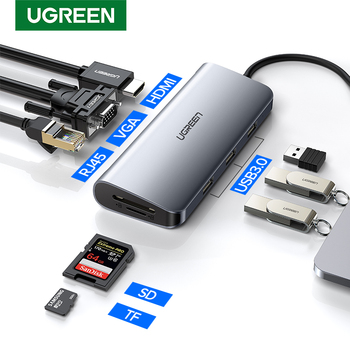 Ugreen Thunderbolt 3 Dock USB סוג C כדי HDMI רכזת מתאם עבור MacBook סמסונג דקס Galaxy S10/S9 USB-C ממיר Thunderbolt HDMI