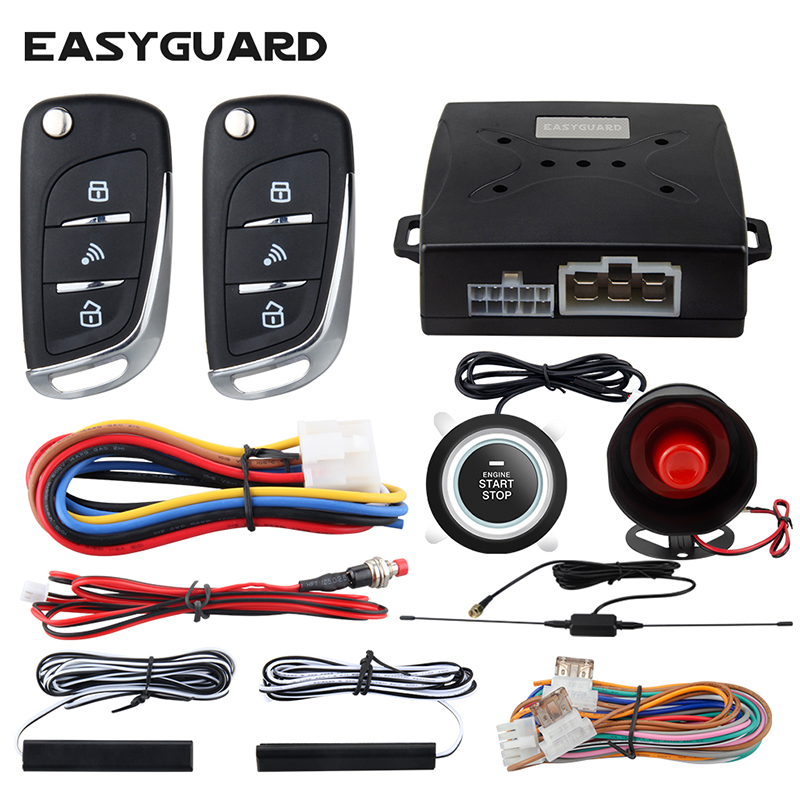 EASYGUARD Alarm System Car With PKE Passive Keyless Entry Remote Engine Start Security Alarm Push Button Start Auto Lock Unlock