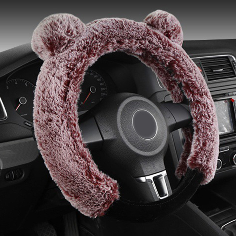 Warm Plush Steering Wheel Cover Kit Winter Fluffy Soft Plush Car Wheel LP