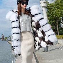 Podszewka z prawdziwego futra lisów kurtka damska moda zimowa długa lisa kurtka z futrzanym kołnierzem kobiece ciepłe futro lisa ciasto do pokonania płaszcz panie