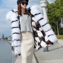 Real fox fur liner jacket female winter fashion long fox fur collar jacket female warm fox fur pie to overcome coat ladies
