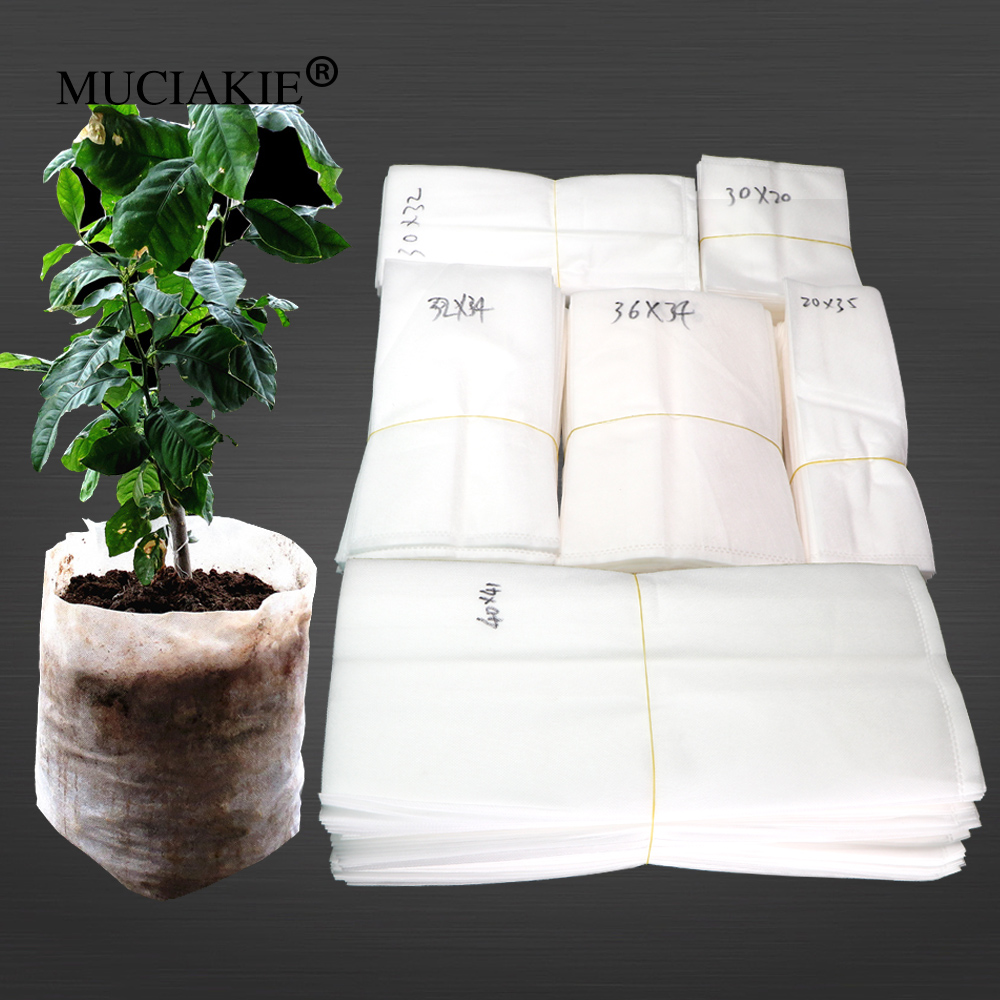MUCIAKIE 10-50PCS Biodegradable Non-woven Nursery Bags Plant Grow Fabric Seedling Pots Ventilate Growing Planting Bags