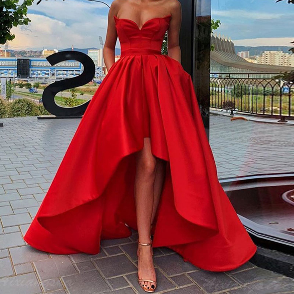Strapless Prom Dress Red A Line Satin Party Gown High Low Cheap Formal Evening Dresses