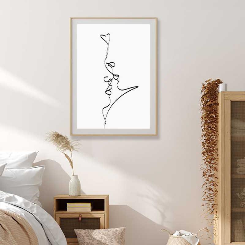 Astratta Coppia Bacio Singola Linea di Disegno di Stampa Nero di Amore Bianco Poster Regali Romantici Camera Da Letto Della Parete di Arte della Tela di Canapa Pittura Decorazione
