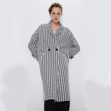 ZA Houndstooth Wool Tweed Coat 2019 Autumn Winter Women Mid-Long Casual Women's Popular Outerwear Woolen Coat Parka Wholesale(China)