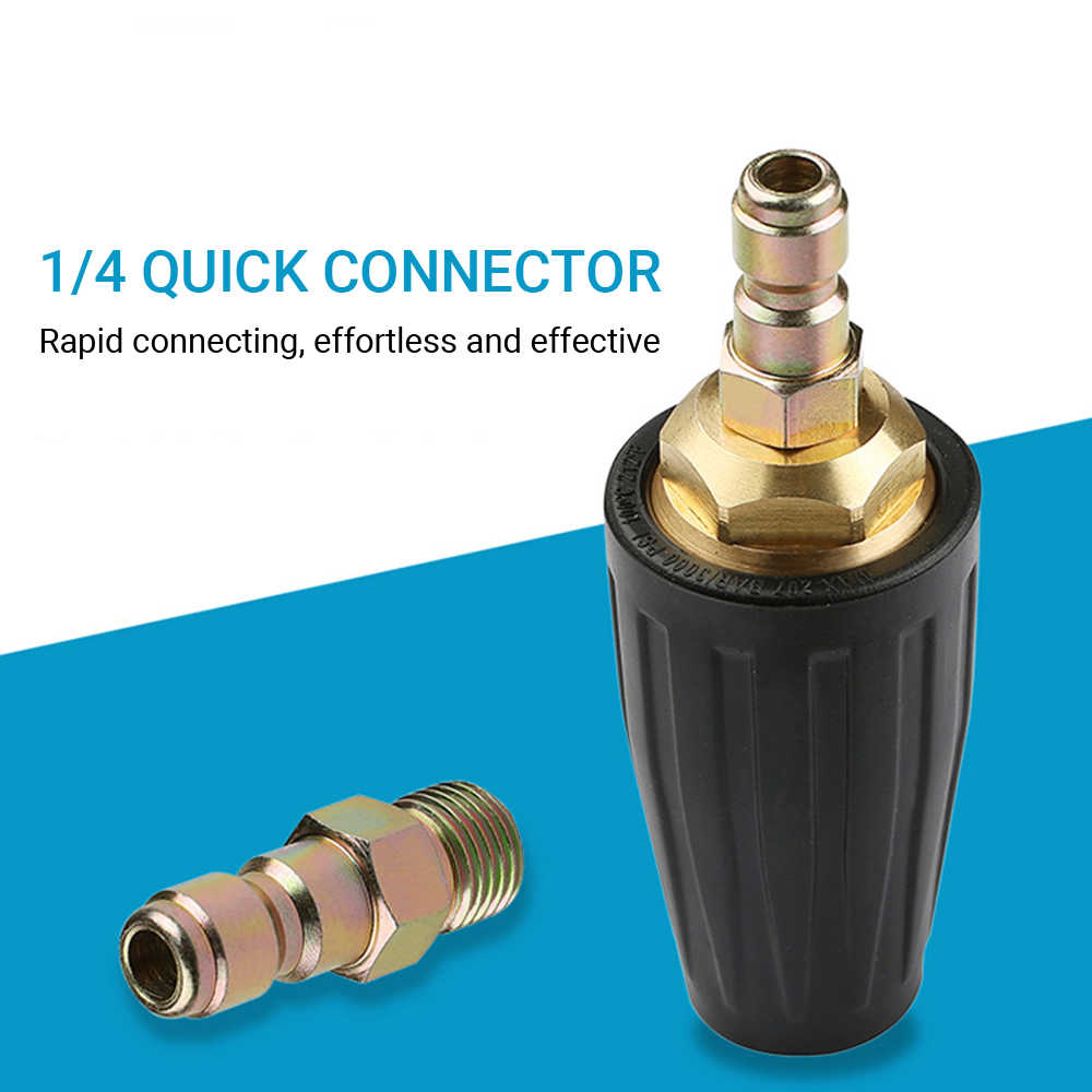"""High Pressure Washer Rotating Turbo Spray Nozzle 1//4/"""" Quick Connect Black UK"""