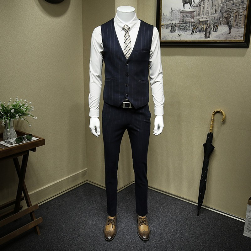 Formal Business Man Office Work 3pcs Dress Suit Groom Striped Slim Fit Double Breasted Wedding Suits High Quality Costume Homme